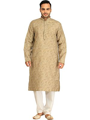 Casual Kurta Pajama Set with Printed Mughal Motifs