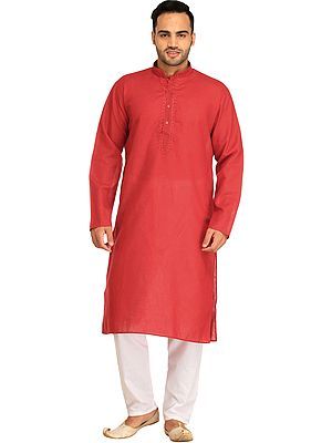 Plain Casual Kurta Pajama Set with Thread-Embroidery on Neck