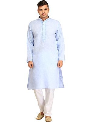 Casual Kurta Pajama Set with Thread-Embroidery on Neck