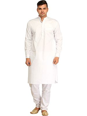 Plain Pathani Kurta Shalwar Set with Piping-work