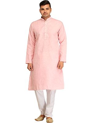 Pastel Kurta Pajama Set with Thread Weave in Self and Embroidery on Neck