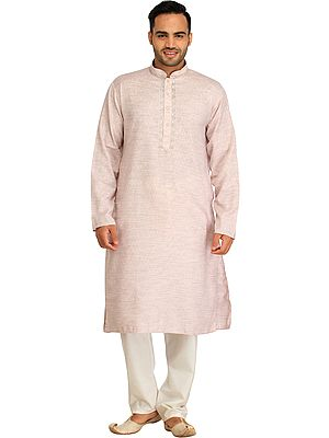 Khadi Kurta Pajama Set with Thread-Embroidery on Neck