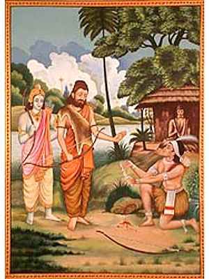Eklavya Paying Guru Dakshina to Dronacharya (A Poignant Episode from the Mahabharata)
