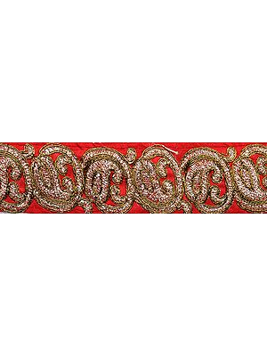 Narrow Fabric Border with Embroidered Paisleys in Golden Thread