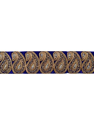 Fabric Border with Paisleys Embroidered in Copper Colored Thread