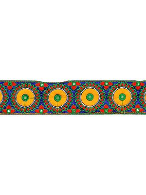 Wide Fabic Border with Embroidered Chakras and Mirrors