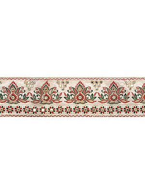 Snow-White Wide Border with Ari-Embroidered Mughal Design