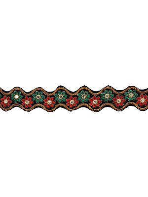 Velvet Wavy Fabric Border with Embroided Flowers and Mirrors