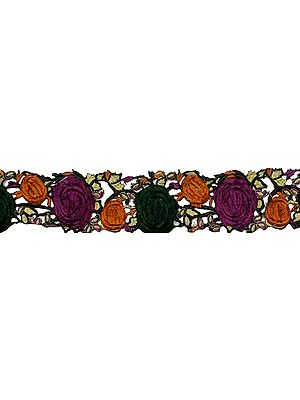 Floral Ari-Embroidered Fabric Border with Cutwork