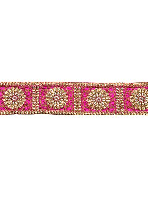 Fabric Border with Embroidered Flowers in Golden Thread