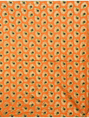 Costume Fabric with Zari-Woven Leaves and Paisleys