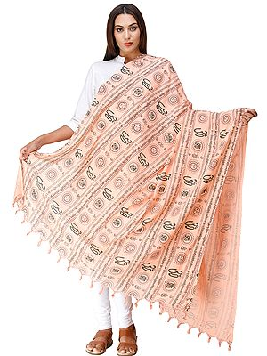Pink Om Prayer Shawl with Printed Gayatri Mantra