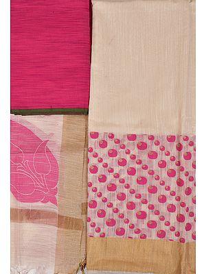Ivory Banarasi Salwar Kameez Fabric with Woven Bootis and Golden Border