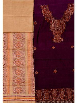 Bomkai Salwar Kameez Fabric from Orissa with Woven Paisleys