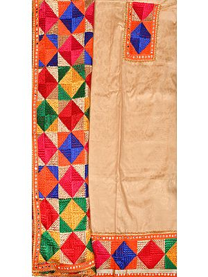 Phulkari Salwar Kameez Fabric from Punjab with Self-Weave and Patch Border