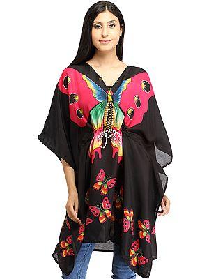 Black Short Kaftan with Printed Butterflies and Dori at Waist