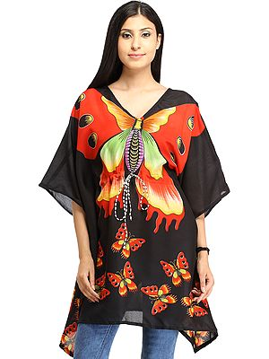 Black Short Kaftan with Printed Butterflies and Dori at Waist