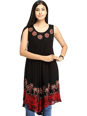Batik-Dyed Dress with Threadwork and Printed Trees on Border