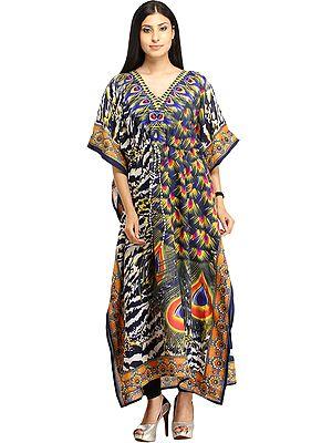 Digital-Printed Kaftan with Dori on Waist and Large Peacock Feathers