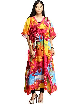 Multicolored Digital-Printed Kaftan with Dori on Waist