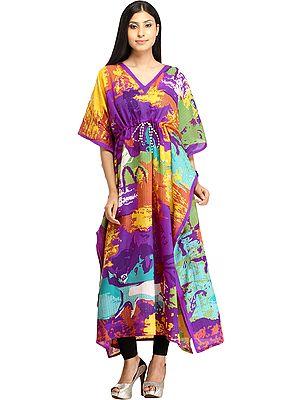 Multicolored Digital-Printed Kaftan with Dori on Waist