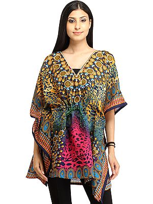 Short Kaftan with Printed Leopard Spots and Dori at Waist