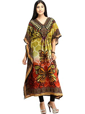 Butterflies Digital-Printed Kaftan with Dori at Waist