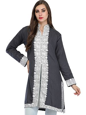 Jacket from Kashmir with Ari-Embroidery on Border