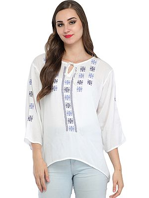 Bright-white Short Kurti with Embroidery and Dori on Neck