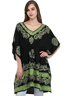 Black Short Batik Kaftan from Kashmir with Thread-Embroidery