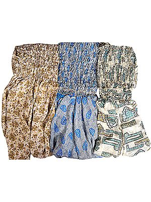 Lot of Three Vintage-Sari Dresses with Harem Trousers