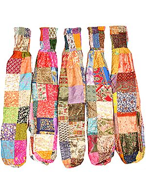 Lot of Five Vintage Sari Patchwork Harem Trousers