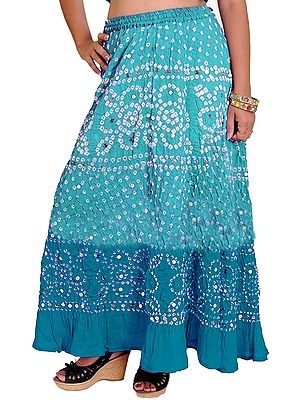 Bandhani Tie-Dye Skirt from Jaipur with Large Sequins