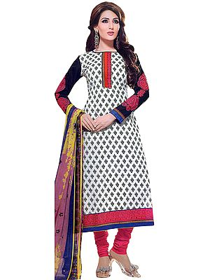 Chic-White Choodidaar Suit with Printed Bootis and Patch Border