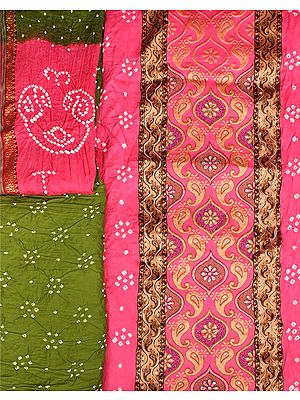 Bandhani Salwar Kameez Fabric from Gujarat with Ari Embroidery and Crystals