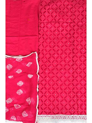 Salwar Kameez Fabric with Cutwork and Embroidered Mirrors
