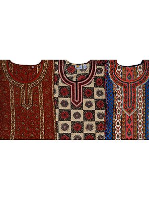Lot of Three Printed Tops with Mokaish Work