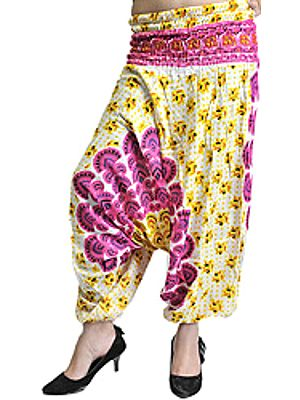 Cream and Fuchsia Harem Trousers with Printed Motiffs
