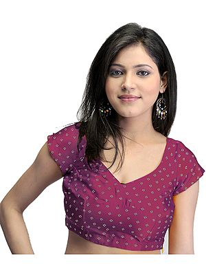 Bollywood Printed Bandhej Choli with Dori Back
