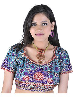 Cutwork Bollywood Choli with Metallic Thread Embroidered Flowers