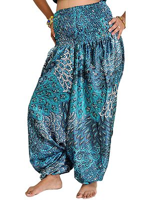 Harem Satin Trousers with Printed Paisleys and Flowers