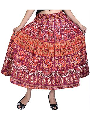 Sanganeri Midi Skirt with Printed Elephants and Peacocks