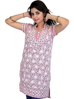Kurti with Lukhnawi Chikan Embroidered Flowers and Sequins
