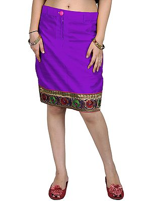 Plain Pencil Skirt with Hand-woven Floral Patch Border