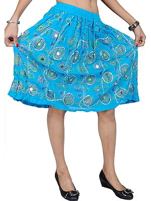 Midi-Skirt With Embroidered Sequins and Printed Flowers