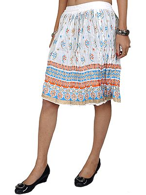 Midi-Skirt With Printed Flowers and Golden Painted Border