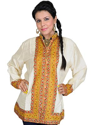 Kashmiri Jacket with Hand Ari Embroidery on Border