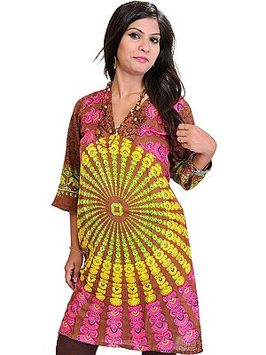 Long Kurti from Pilkhuwa with Printed Chakras