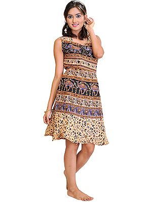 Sanganeri Summer Dress with Printed Camels and Elephants