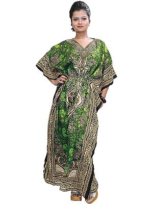 Long Printed Kaftan with Dori at Waist